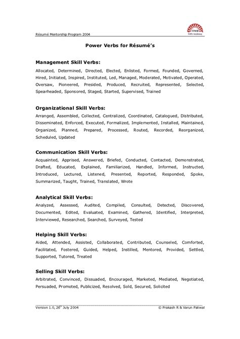 Resume Verbs Skills Power Verbs To Be Used In Resume