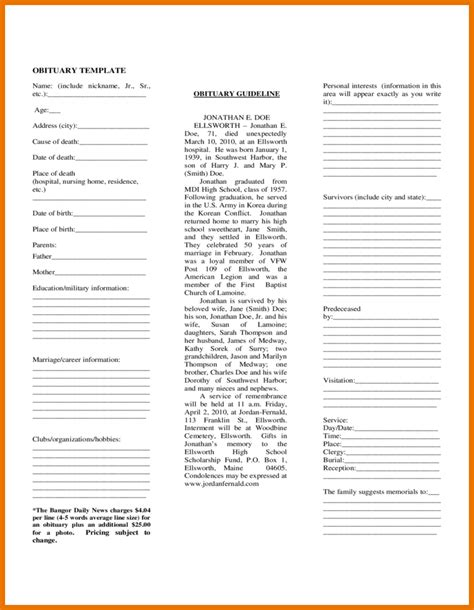 printable obituary template 7 obituary template free itinerary template sle