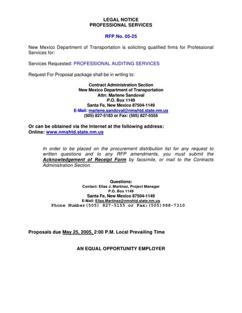 Evaluation And Appraisal Notification Letter notice professional services rfp no 05 25