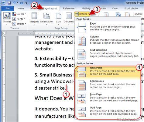 create sections in word 2010 to use page formats