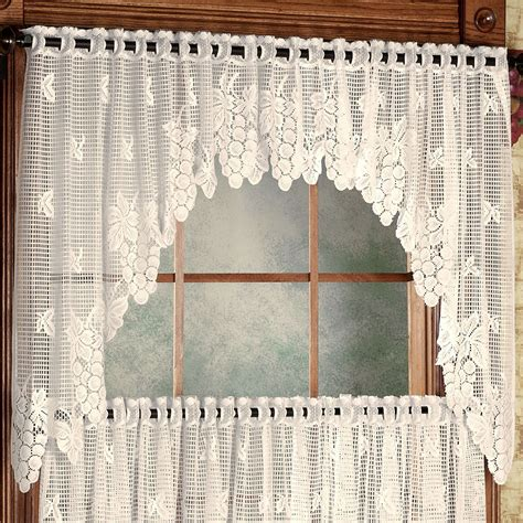Lace Valances And Swags vineyard lace swag valance pair 66 x 36 touch of class