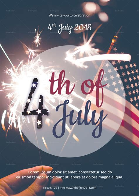 4th Of July Party Flyer Templates 4th of july flyer design template in psd word