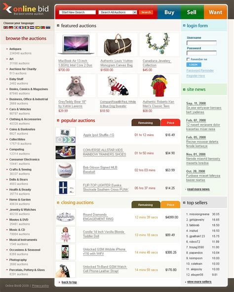 bid auction websites auction website template 22371