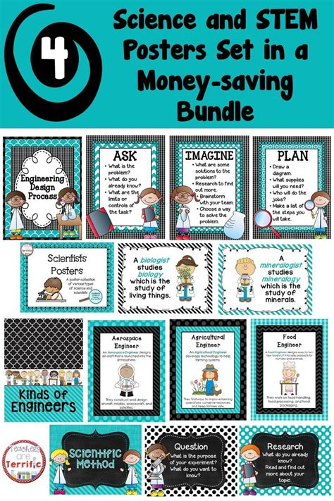 poster package layout stem and science posters bundle in teal and black