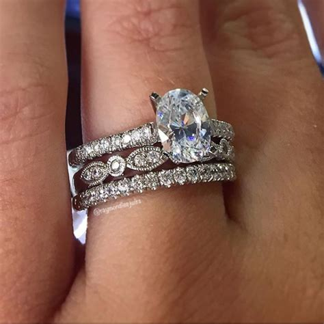 oval solitaire engagement ring wedding band stack