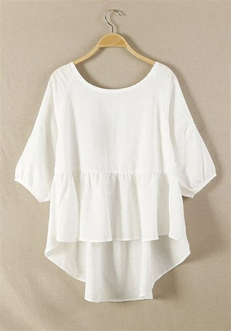 Pearl Flowy Blouse white plain hem irregular cotton blend blouse
