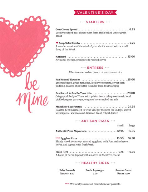 valentines menu template the world s catalog of ideas