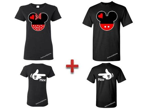 Matching Clothes For Him And Mickey And Minnie Couples Matching Shirts Tshirt Back Mine