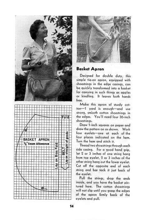 sewing basket apron free vintage apron pattern archives vintage crafts and more