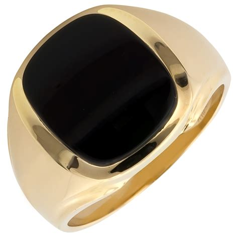 mens cushion cut black onyx ring in 14kt yellow gold