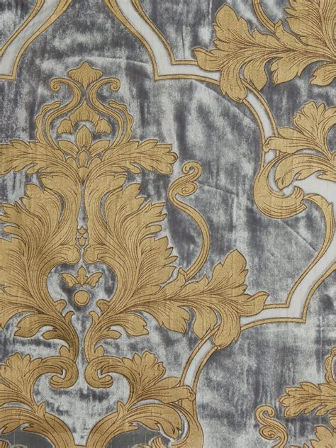 Furnishing Fabrics Hebe Regal Floral Damask Single Pinch Pleat Velvet Curtains