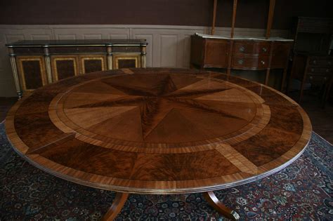 Round Expanding Dining Table Large Round Mahogany Dining Table W Leaves Perimeter Ebay