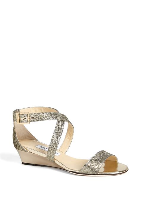 Jimmy Choo Sandal Wedges Jimmy Choo Chiara Wedge Sandal In Gold Light Bronze Lyst