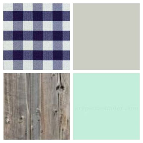 country rustic baby boys nursery color palette blue white gingham plaid seafoam green