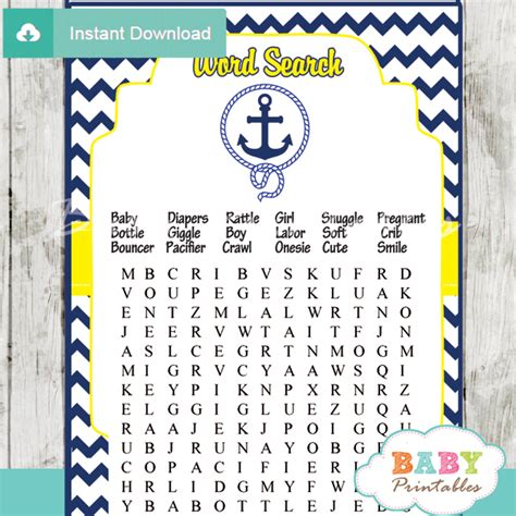 Free Printable Baby Shower Uk by Navy Yellow Nautical Anchor Baby Shower D197