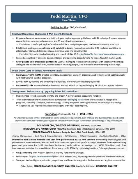 resume cfo position gallery resume ideas