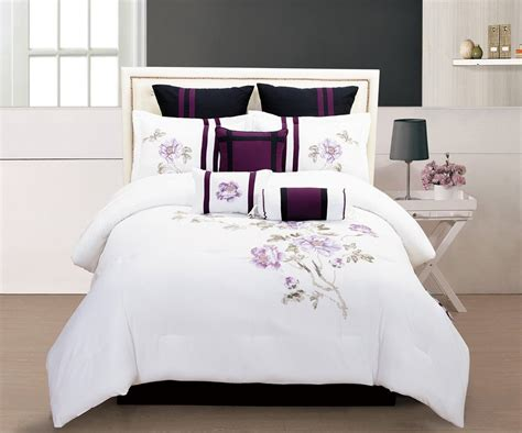 Purple Black And White Bedding Sets Drama Uplifted Bed Comforters Set