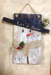 snowman repurposed primitive pallet wood snowman door hanging