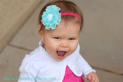 diy head band to hide balding ruffled lace flower picture tutorial
