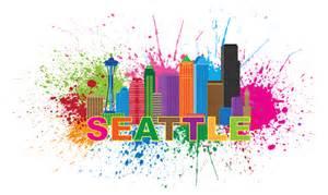 seattle skyline paint splatter text illustration greeting