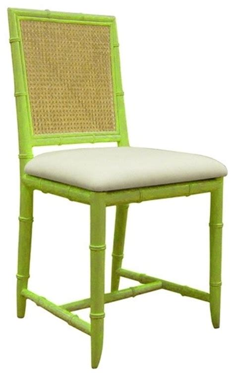side chair in green tropical dining