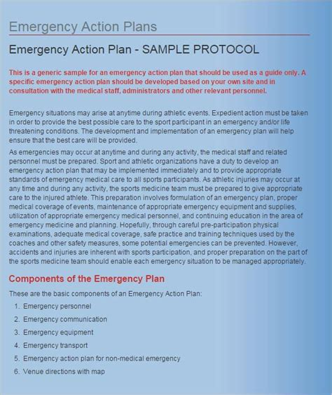 emergency action plan template 15 free word excel pdf