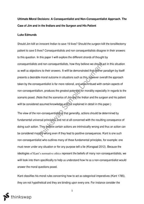 Essays On Consequential Ethics ethics major essay consequentialist and non consequentialist approaches to moral dillemmas