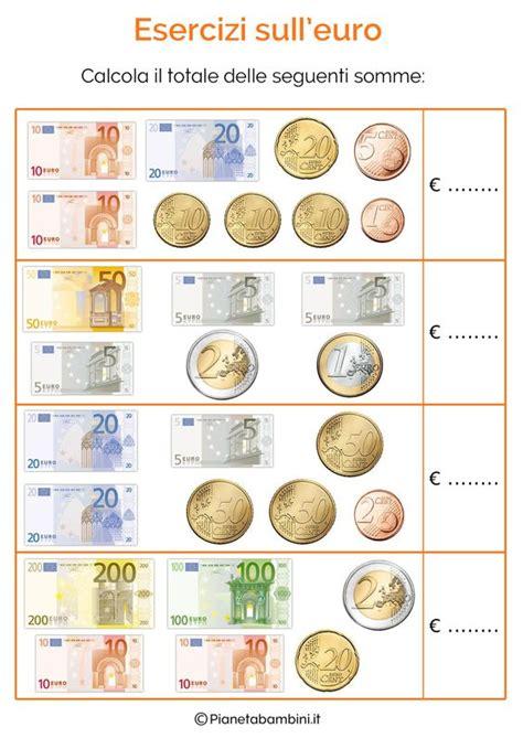 esercizi spagnolo con tutte schede didattiche con tabelle su tutte le monete e banconote dell euro ed esercizi da stare e