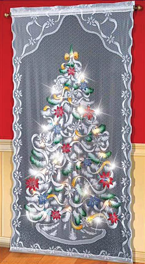 christmas curtain panels led lighted christmas tree curtain panel indoor home
