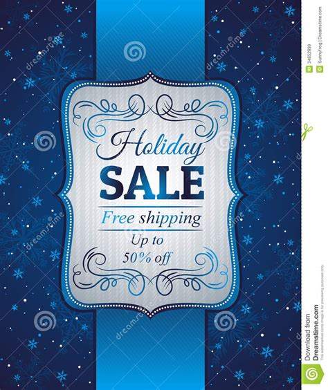 blue christmas background and label with sale offe royalty