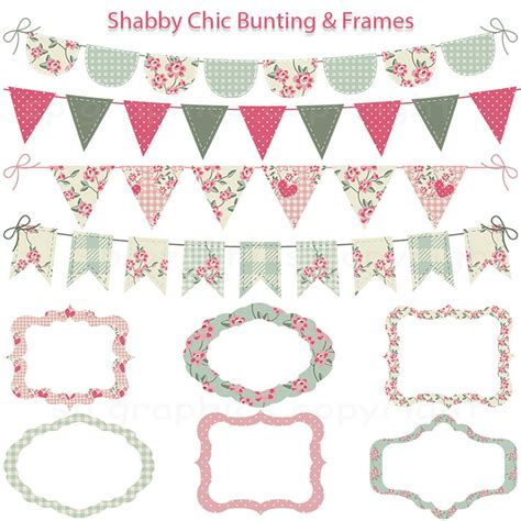 shabby chic bunting and tags frames grunge digital clipart for cards photography