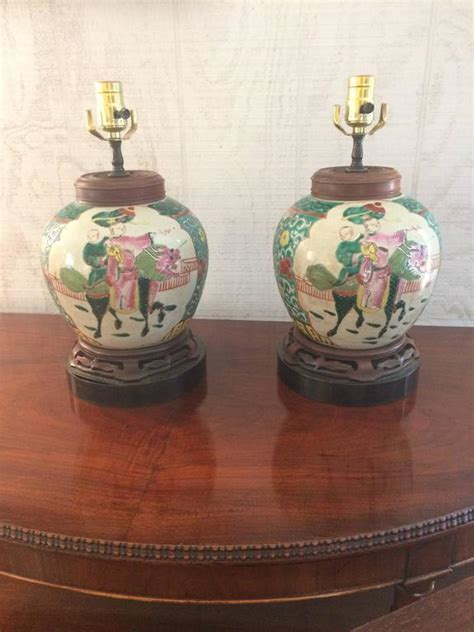 pair of antique medallion jar table ls for