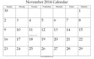 Calendar November 2014 November 2014 Printable Calendar Printable Hub