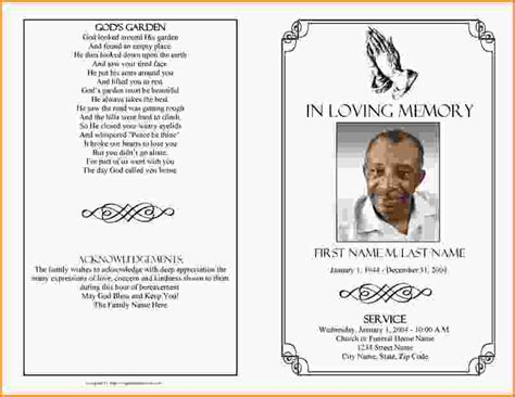 funeral card templates free funeral program template madinbelgrade