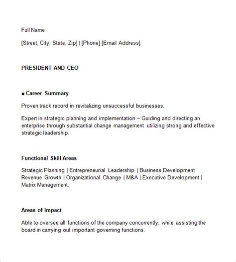 ceo resume template ceo resume template 11 free sles exles format