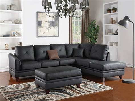 claire leather reversible sectional and ottoman reversible chaise sofa 2pc sectional contemporary black