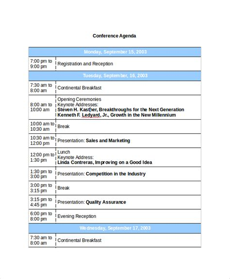 meeting itinerary template sle conference agenda 7 documents in pdf word
