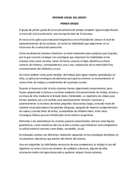 INFORME ANUAL DEL GRUPO PRIMER GRADO El grupo de primer