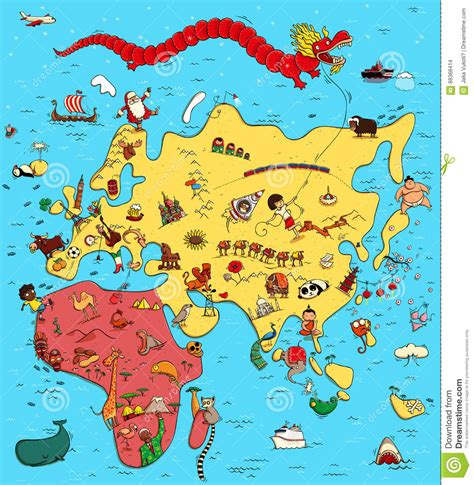 europa asia y africa mapa mapa ilustrado de europa de asia y de 193 frica ilustraci 243 n