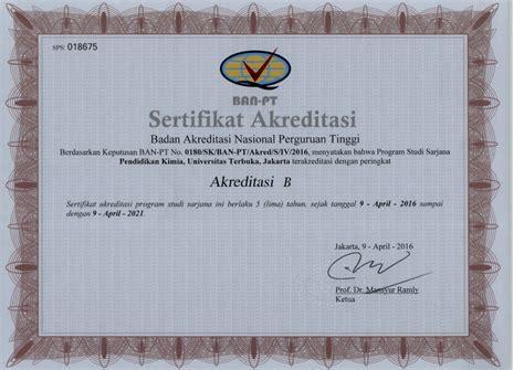 Syarat Cpns Daerah Sertifikat Akreditasi Ban Pt by Sertifikat Akreditasi Ban Pt Universitas Terbuka