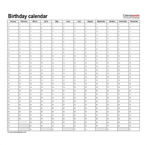 free birthday calendar template excel free printable perpetual calendar template calendar