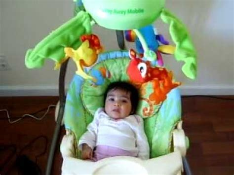 fisher price swing stopped swinging anya in her fisher price rain forest swing youtube