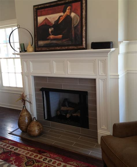gray tile for fireplace fireplace
