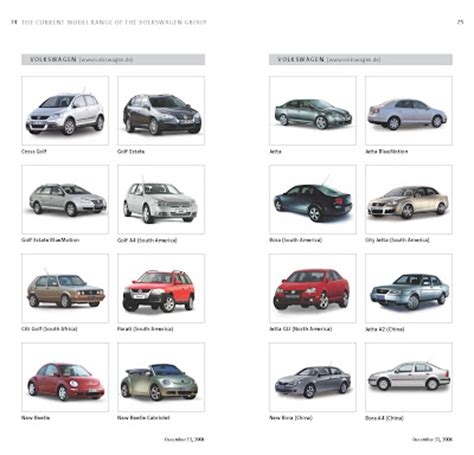 volkswagen vehicles list complete list of vw group s 178 models sold worldwide
