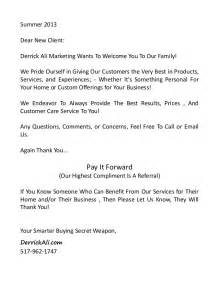 Summer 2013dear new client derrick ali marketing wants to welcome you