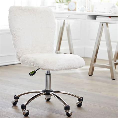 desk chair with fur polar faux fur airgo arm armless chair pbteen