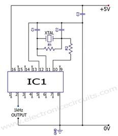 accurate 1 khz square wave crystal oscillator circuit