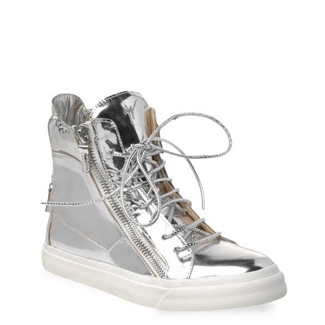 giuseppe sneakers for giuseppe zanotti high top sneakers in silver mirror