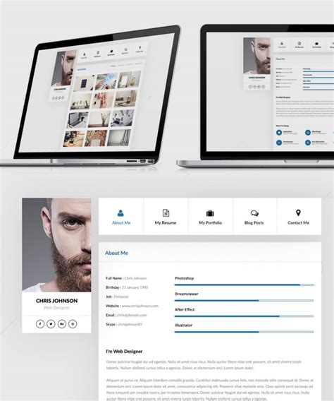 resume and portfolio website templates free psd psd