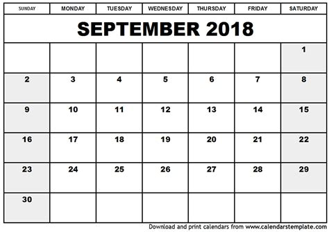 printable monthly calendar holidays september 2018 calendar with holidays printable